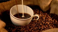 Two videos of pouring a cup of coffee in real slow motion video