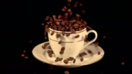 Two videos of filling a cup of coffee in real slow motion video