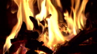 Two videos of fireplace in real slow motion video