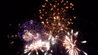 Two videos of fireworks colourful show video