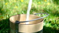 Two videos of pouring milk into wooden bucket-real slow motion video