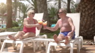 Two videos of senior couple proposing a toast-real slow motion video