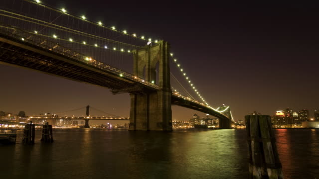 Two views HD time lapse - Brooklyn Bridge Evening video