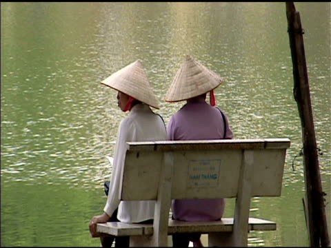 Two woman in Hanoi Vietnam Park video
