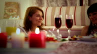 Two women have dinner and drinking wine video