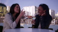 Two women sit at a table and have a glass of wine at a rooftop bar video