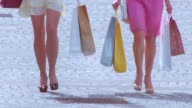 Two women with shopping bags walking down the street video