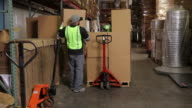 Two workers in shipping warehouse stacking boxes video