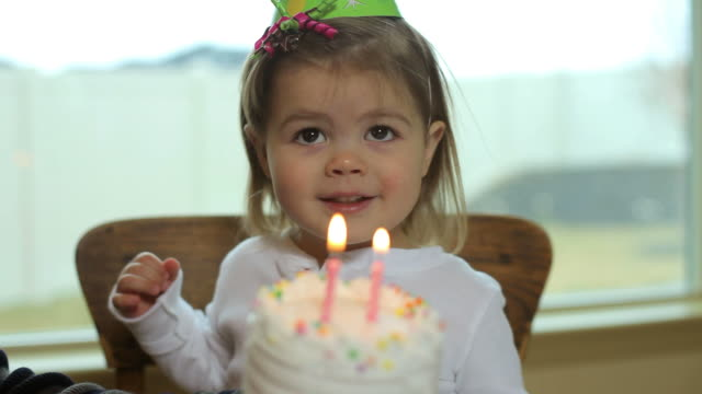 Two year old girl blowing out birthday candles video