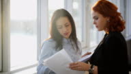 Two Young beautiful women discuss different documents near windows video