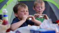 Two young boys eat smores at campground video