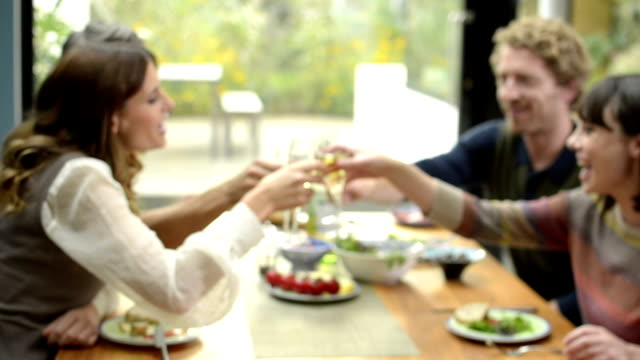 Two young couples toasting video