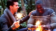 MS  Two young men playing with sparklers, smiling video