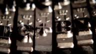 Typewriter. Metal types in close-up. Movable types. video