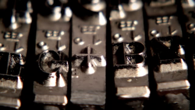 Typewriter. Metal types in close-up. Movable types. video