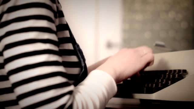 Typewriter. Typewriting in office. Typing by secretary. video