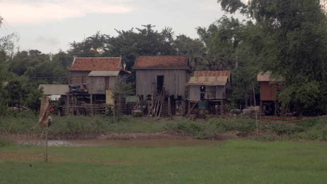 Typical asian village with wooden stilt houses video