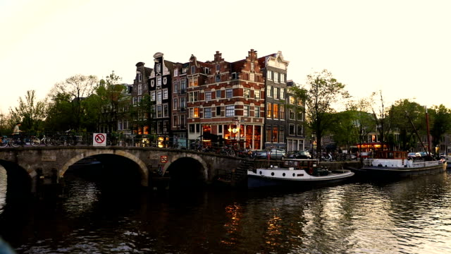 Typical bridge on the canals in the central Amsterdam video