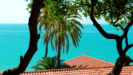 Typical spanish apartment house, sea view and palm trees, Tarragona, Spain video