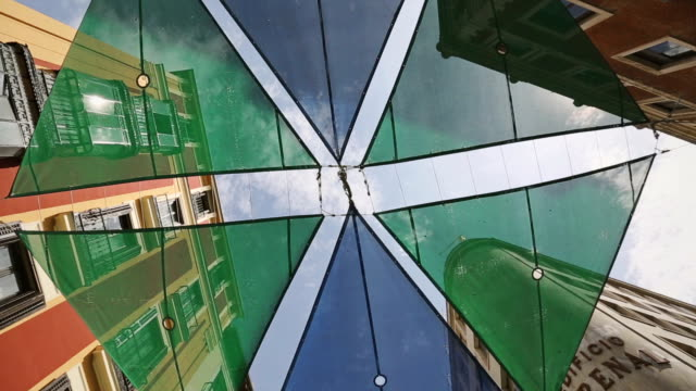 Typical toldo sunshade on spanish buildings video