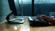 Typing fingers push keyboard in office, 4K(UHD) video