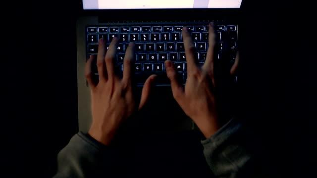 Typing on laptop keyboard. video