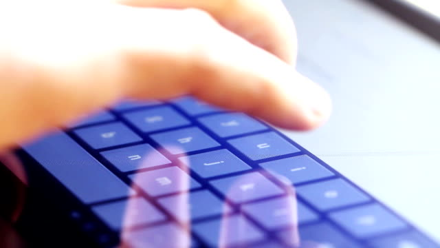 typing on touch screen digital tablet video