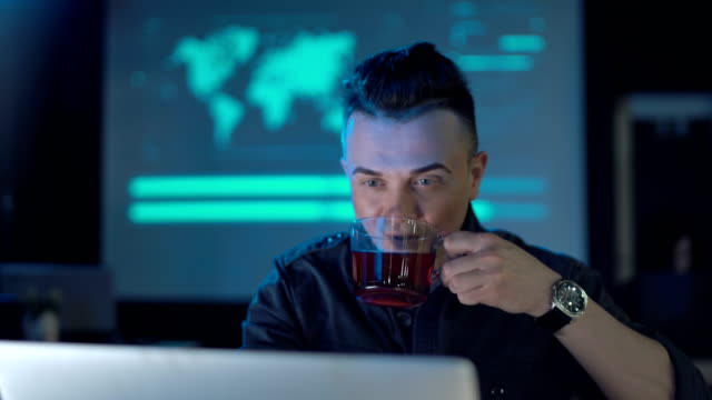 Tyred programmer having coffee video
