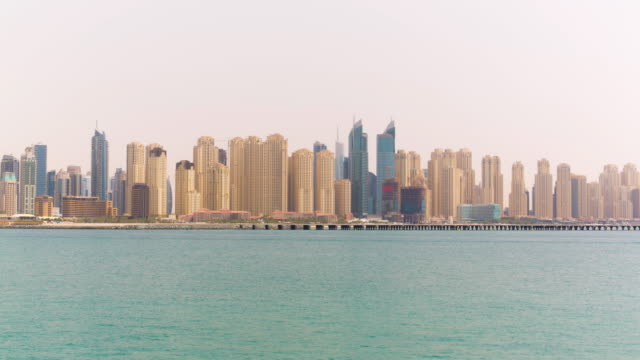 Uae summer day dubai marina jbr bay panorama 4k time lapse video
