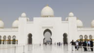 uae summer day light main mosque tourist entrance 4k video