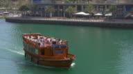uae summer day time dubai marina gulf tourist boat ride 4k video