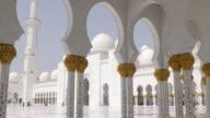 uae summer light main white walls mosque inside 4k video
