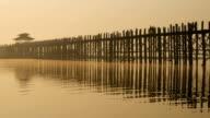 Ubein Bridge at sunrise, Mandalay, Myanmar video