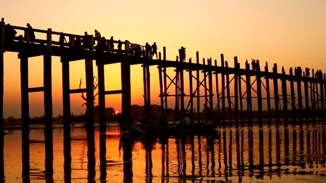 U-Bein Bridge in Mandalay, Myanmar video