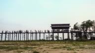 U-Bein teak bridge on Taungthaman lake in Amarapura, Mandalay, Myanmar video