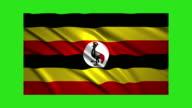 Uganda flag waving,loopable on green screen video
