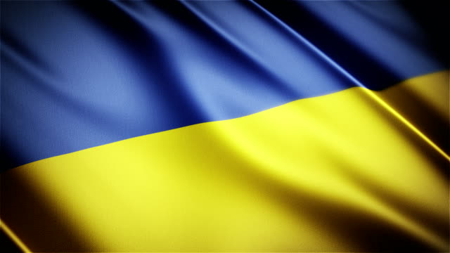 Ukraine realistic national flag seamless looped waving animation video