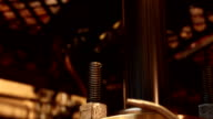 Ultra closeup view of an industrial engine piston in motion video