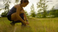 Ultra marathon runner running outdoors in nature video