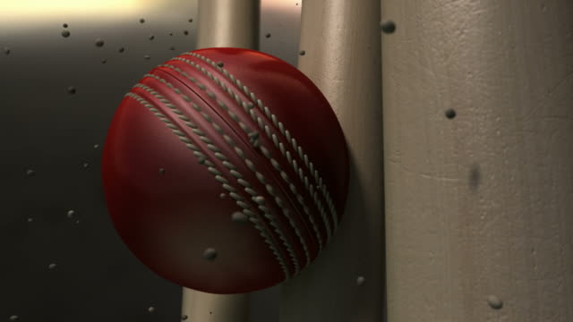 Ultra Motion Cricket Ball Striking Wickets With Particles video