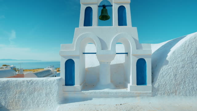 Ultra Wide Angle Traditional Cycladic Mediterranean Church with a View to the Sea video