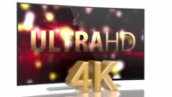 UltraHD Smart Tv with curved screen on white video