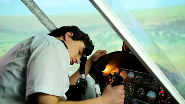 Unconscious or dead pilot lying on steering wheel, aircraft flying uncontrolled video