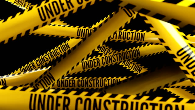 Under construction. Text on police tape. video