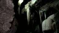 Underground Cave / Cavern with stalactites, close up - DOLLY HD video