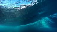 Underwater Angle of Tropical Blue Ocean Wave Breaking video