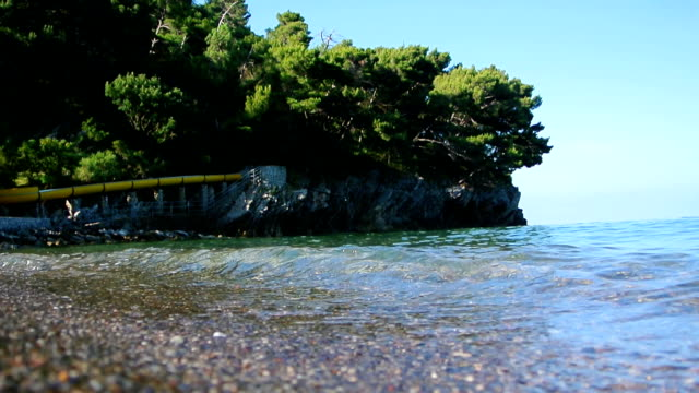 Underwater photography, you can see the beach. The sea coast of video
