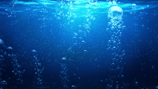 Underwater scene with bubbles. Blue. Loopable, alpha matte. video