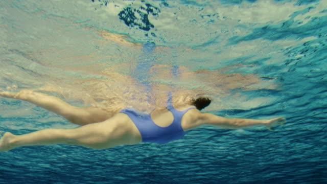 Underwater shot of a female swimmer video