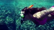 SLOW MOTION: Underwater snorkeling video